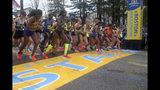 The elite women break from the start of the123rd Boston Marathon on Monday, April 15, 2019, in Hopkinton, Mass. (AP Photo/Stew Milne)