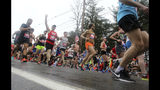 Peter Guza, of North Andover, Mass., waves as he starts the 123rd Boston Marathon on Monday, April 15, 2019, in Hopkinton, Mass. (AP Photo/Stew Milne)