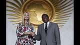 White House senior adviser Ivanka Trump, left, shakes hands with Kwesi Quartey, Deputy Chairperson of the African Union Commission (AUC), Monday April 15, 2019, after they met and signed a statement together at the AUC headquarters in Addis Ababa, Ethiopia. (AP Photo/Jacquelyn Martin)