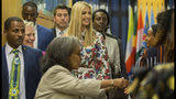 Ivanka Trump, the US president's daughter and senior advisor, center, arrives to attend the African Women's Empowerment Dialogue in Addis Ababa, Ethiopia, at the United Nations Economic Commission for Africa (UNECA), Monday April 15, 2019. Ivanka Trump is on a four-day trip to Ethiopia and Ivory Coast on behalf of a White House project intended to boost 50 million women in developing countries by 2025. (AP Photo/Mulugeta Ayene)
