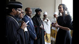White House senior adviser Ivanka Trump, right, arrives for a ceremony at Holy Trinity Cathedral honoring the victims of the Ethiopian Airlines crash, Monday April 15, 2019, in Addis Ababa, Ethiopia. (AP Photo/Jacquelyn Martin)