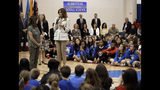 First lady Melania Trump, right, and second lady Karen Pence, left, speak to students at Albritton Middle School in Fort Bragg, N.C., Monday, April 15, 2019. (AP Photo/Chuck Burton)