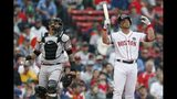 Boston Red Sox's Steve Pearce, right, reacts beside Baltimore Orioles catcher Jesus Sucre after being called out on a check-swing third strike during the second inning of a baseball game in Boston, Monday, April 15, 2019. (AP Photo/Michael Dwyer)