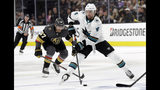 Vegas Golden Knights left wing Max Pacioretty (67) defends as San Jose Sharks defenseman Brenden Dillon (4) looks to pass during the first period of Game 3 of an NHL first-round hockey playoff series game, Sunday, April 14, 2019, in Las Vegas. (AP Photo/Isaac Brekken)