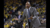 Los Angeles Clippers head coach Doc Rivers gestures toward an official during the first half of Game 2 of a first-round NBA basketball playoff series against the Golden State Warriors in Oakland, Calif., Monday, April 15, 2019. (AP Photo/Jeff Chiu)