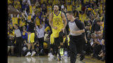 Golden State Warriors guard Stephen Curry (30) celebrates after scoring against the Los Angeles Clippers during the first half of Game 2 of a first-round NBA basketball playoff series in Oakland, Calif., Monday, April 15, 2019. (AP Photo/Jeff Chiu)