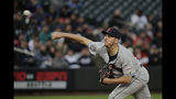 Cleveland Indians starting pitcher Trevor Bauer throws against the Seattle Mariners during the first inning of a baseball game, Monday, April 15, 2019, in Seattle. (AP Photo/Ted S. Warren)
