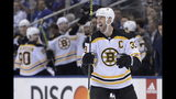 Boston Bruins defenseman Zdeno Chara (33) celebrates after scoring on Toronto Maple Leafs goaltender Frederik Andersen during the third period of Game 4 of an NHL hockey first-round playoff series Wednesday, April 17, 2019, in Toronto. (Nathan Denette/The Canadian Press via AP)