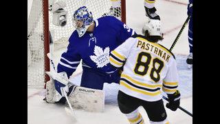 Pastrnak scores twice, Bruins beat Maple Leafs to tie series