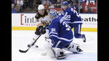 Toronto Maple Leafs goaltender Frederik Andersen (31) stops Boston Bruins right wing David Pastrnak (88) during the third period of Game 4 of an NHL hockey first-round playoff series Wednesday, April 17, 2019, in Toronto. (Nathan Denette/The Canadian Press via AP)