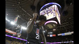 Los Angeles Clippers guard Patrick Beverley celebrates during the second half against the Golden State Warriors in Game 2 of a first-round NBA basketball playoff series in Oakland, Calif., Monday, April 15, 2019. (AP Photo/Jeff Chiu)