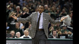 Detroit Pistons coach Dwane Casey yells to an official during the first half of Game 2 of the team's NBA basketball first-round playoff series against the Milwaukee Bucks on Wednesday, April 17, 2019, in Milwaukee. (AP Photo/Aaron Gash)