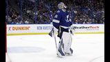Tampa Bay Lightning goaltender Andrei Vasilevskiy reacts after giving up a goal to Columbus Blue Jackets defenseman Seth Jones during the third period of Game 1 of an NHL Eastern Conference first-round hockey playoff series Wednesday, April 10, 2019, in Tampa, Fla. (AP Photo/Chris O'Meara)