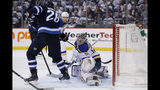 St. Louis Blues goaltender Jordan Binnington (50) saves the shot as Winnipeg Jets' Blake Wheeler (26) looks for the rebound during the second period of Game 5 of an NHL hockey first-round playoff series Thursday, April 18, 2019, in Winnipeg, Manitoba. (John Woods/The Canadian Press via AP)