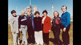 "In this 1995 file photo, members of the FLATs, also known as the ""Mercury 13,"" gather for a photo as they attend a shuttle launch in Florida. From left are Gene Nora Jessen, Wally Funk, Jerrie Cobb, Jerri Truhill, Sarah Rutley, Myrtle Cagle and Bernice Steadman. They were the invited guests of space shuttle pilot Eileen Collins, the first female shuttle pilot and later the first female shuttle commander. Cobb, NASA's first female astronaut candidate, died in Florida at the age of 88 on March 18, 2019. (NASA via AP)"