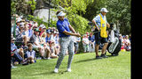 Ian Poulter chips to the eighth green during the second round of the RBC Heritage golf tournament in Hilton Head Island, S.C., Friday, April 19, 2019. (Scott Schroeder/The Island Packet via AP)