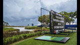 Play is suspended as severe weather rolled in during the second round of the RBC Heritage golf tournament in Hilton Head Island, S.C., Friday, April 19, 2019. (Scott Schroeder/The Island Packet via AP)