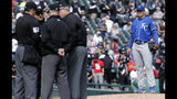 Kansas City Royals starting pitcher Brad Keller, right, looks at the umpires after Chicago White Sox's Tim Anderson was hit by a pitch by him as benches cleared during the sixth inning of a baseball game in Chicago, Wednesday, April 17, 2019. The Royals won 4-3. (AP Photo/Nam Y. Huh)