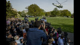 Marine One with President Donald Trump aboard, departs the South Lawn of the White House, Thursday, April 18, 2019, for a short trip to Andrews Air Force Base, Md. President Trump is traveling to his Mar-a-lago estate to spend the Easter weekend in Palm Beach, Fla. (AP Photo/Andrew Harnik)