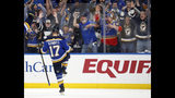 St. Louis Blues' Jaden Schwartz celebrates after scoring during the second period in Game 6 of an NHL first-round hockey playoff series against the Winnipeg Jets, Saturday, April 20, 2019, in St. Louis. (AP Photo/Jeff Roberson)