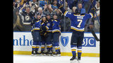 St. Louis Blues' Jaden Schwartz, second from left, is congratulated by teammates Vince Dunn, left, Tyler Bozak (21), Tyler Bozak and Pat Maroon (7) after scoring during the second period in Game 6 of an NHL first-round hockey playoff series against the Winnipeg Jets, Saturday, April 20, 2019, in St. Louis. (AP Photo/Jeff Roberson)
