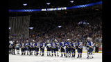 Members of the St. Louis Blues and the Winnipeg Jets shake hands following Game 6 of an NHL first-round hockey playoff series, Saturday, April 20, 2019, in St. Louis. (AP Photo/Jeff Roberson)