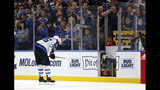 Winnipeg Jets' Blake Wheeler heads to the penalty box with just over two minutes remaining in the third period in Game 6 of an NHL first-round hockey playoff series against the St. Louis Blues, Saturday, April 20, 2019, in St. Louis. (AP Photo/Jeff Roberson)