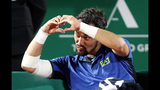 Italy's Fabio Fognini celebrates after defeating Croatia's Borna Coric during their quarterfinal match of the Monte Carlo Tennis Masters tournament in Monaco, Friday, April, 19, 2019. (AP Photo/Claude Paris)