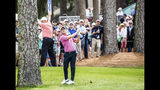 Emiliano Grillo hits out of trouble after taking relief from the bleachers to the right of the ninth green during the second round of the RBC Heritage golf tournament in Hilton Head Island, S.C., Friday, April 19, 2019. (Scott Schroeder/The Island Packet via AP)