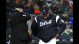Detroit Tigers manager Ron Gardenhire reacts to being thrown out of the baseball game by Todd Tichenor, left, during the fifth inning against the Chicago White Sox in Detroit, Friday, April 19, 2019. (AP Photo/Paul Sancya)