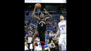 Toronto Raptors' Kawhi Leonard (2) gets a shot off as he gets past Orlando Magic's Nikola Vucevic (9) during the first half in Game 4 of a first-round NBA basketball playoff series, Sunday, April 21, 2019, in Orlando, Fla. (AP Photo/John Raoux)