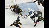 Vegas Golden Knights goaltender Marc-Andre Fleury (29) blocks a shot by San Jose Sharks right wing Timo Meier (28) during the first overtime in Game 6 of a first-round NHL hockey playoff series Sunday, April 21, 2019, in Las Vegas. (AP Photo/John Locher)