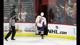 Washington Capitals' Alex Ovechkin (8), off Russia, leaves the ice following a penalty during the third period of Game 6 of an NHL hockey first-round playoff series against the Carolina Hurricanes in Raleigh, N.C., Monday, April 22, 2019. Carolina won 5-2. (AP Photo/Gerry Broome)