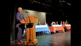 In this April 9, 2019 photo Republican 3rd Congressional District candidate Paul Beaumont speaks during a Republican forum at Currituck County Middle School in Barco, N.C. Potential successors to U.S. Rep. Walter Jones Jr. knew the eastern North Carolina congressional seat he held for 24 years would be open soon, but just not so quickly when he died in February. (Chris Day/The Daily Advance via AP)