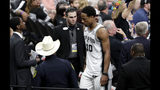 San Antonio Spurs guard DeMar DeRozan (10) leaves the court after he was ejected with five minutes remaining after arguing with an official over an offensive foul during the second half of Game 4 of an NBA basketball playoff series against the Denver Nuggets in San Antonio, Saturday, April 20, 2019. Denver won 117-103. (AP Photo/Eric Gay)