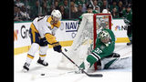 Nashville Predators center Colton Sissons (10) has his shot-attempt blocked by Dallas Stars' Ben Bishop (30) in the second period of Game 6 in an NHL hockey first-round playoff series in Dallas, Monday, April 22, 2019. (AP Photo/Tony Gutierrez)