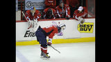"""FILE - In this April 28, 2010, file photo, Washington Capitals left wing Alex Ovechkin (8), of Russia, skates with his head down after the Capitals lost to the Montreal Canadiens 2-1 in Game 7 of the NHL hockey playoff series, in Washington. In previous playoffs, a Game 7 at home would've been a """"Here we go again"""" moment of worry for the Washington Capitals. But after exorcising some demons and winning the Stanley Cup last year, the Capitals hope things really are different this time when they host the pesky Carolina Hurricanes in Game 7 on Wednesday night, April 24, 2019. (AP Photo/Nick Wass, File)"""