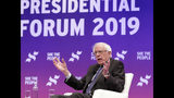 Democratic presidential candidate Sen. Bernie Sanders, I-Vt., answers questions during a presidential forum held by She The People on the Texas State University campus Wednesday, April 24, 2019, in Houston. (AP Photo/Michael Wyke)