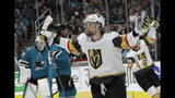 Vegas Golden Knights center Cody Eakin celebrates after scoring a goal against the San Jose Sharks during the second period of Game 7 of an NHL hockey first-round playoff series in San Jose, Calif., Tuesday, April 23, 2019. (AP Photo/Jeff Chiu)