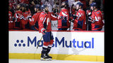 Washington Capitals right wing Tom Wilson (43) celebrates his goal during the first period of Game 7 of an NHL hockey first-round playoff series against the Carolina Hurricanes, Wednesday, April 24, 2019, in Washington. (AP Photo/Nick Wass)