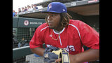 FILE - In this July 31, 2018, file photo, Buffalo Bisons third baseman Vladimir Guerrero Jr. looks on before a minor league baseball against the Lehigh Valley IronPigs in Buffalo, N.Y. The Toronto Blue Jays top prospect says he feels ready to finally make the jump to the majors, while adding the decision is out of his control. Blue Jays assistant general manager Joe Sheehan said this week the team is still evaluating when to make the move. (AP Photo/Jeffrey T. Barnes, File)