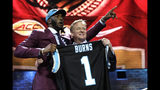 Florida State defensive end Brian Burns poses with NFL Commissioner Roger Goodell after the Carolina Panthers selected Burns in the first round at the NFL football draft, Thursday, April 25, 2019, in Nashville, Tenn. (AP Photo/Mark Humphrey)