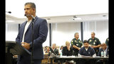 Adnan Raja, brother of Nouman Raja, speaks during the sentencing hearing for Raja Thursday, April 25, 2019 in West Palm Beach, Fla. Nouman Raja, a former Palm Beach Gardens police officer, was convicted on one count each of manslaughter by culpable negligence and first-degree attempted murder. He shot and killed stranded motorist Corey Jones Oct. 18, 2015. (Lannis Waters/Palm Beach Post via AP, Pool)