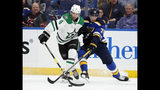 Dallas Stars defenseman Miro Heiskanen (4) and St. Louis Blues center Oskar Sundqvist (70) compete for control of the puck during the second period in Game 1 of an NHL second-round hockey playoff series Thursday, April 25, 2019, in St. Louis. (AP Photo/Jeff Roberson)