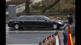 North Korean leader Kim Jong Un's limousine arrives for a wreath-laying ceremony in Vladivostok, Russia, Friday, April 26, 2019. German automaker Daimler, which makes armored limousines used by North Korean leader Kim Jong Un, says it has no idea where he got them and has no business dealings with the North. (AP Photo/Alexander Khitrov)