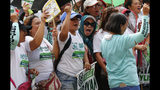 Protesters, mostly workers, shout slogans as they gather for a rally prior to marching towards the Presidential Palace in Manila to pay tribute to workers in celebration of International Labor Day Wednesday, May 1, 2019 in the Philippines. (AP Photo/Bullit Marquez)