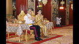 In this Friday, May 3, 2019, photo released by Bureau of the Royal Household, Thailand's King Maha Vajiralongkorn, left, and Queen Suthida make the religious ceremony at Grand Palace in Bangkok, Thailand. The coronation ceremony for 66-year-old King Maha Vajiralongkorn, also known as King Rama X, will be held on May 4-6, 2019. (Bureau of the Royal Household via AP)
