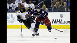 Columbus Blue Jackets' Dean Kukan, right, of Switzerland, carries the puck upice against Boston Bruins' Jake DeBrusk during the second period of Game 6 of an NHL hockey second-round playoff series Monday, May 6, 2019, in Columbus, Ohio. (AP Photo/Jay LaPrete)