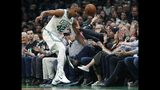 Boston Celtics' Al Horford (42) chases the ball during the first half of Game 4 of a second-round NBA basketball playoff series against the Milwaukee Bucks in Boston, Monday, May 6, 2019. (AP Photo/Michael Dwyer)