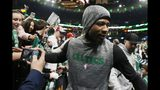 Boston Celtics' Marcus Smart leaves the court after warming up before Game 4 of a second-round NBA basketball playoff series against the Milwaukee Bucks in Boston, Monday, May 6, 2019. (AP Photo/Michael Dwyer)